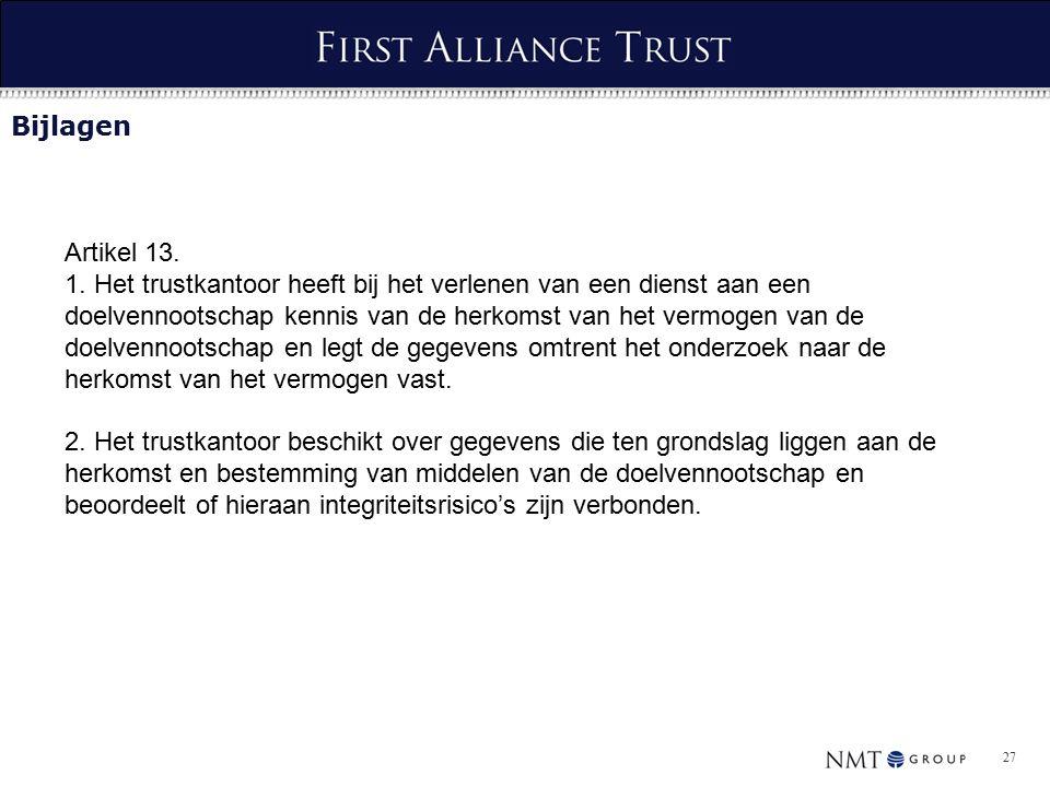 27 Bijlagen Artikel 13. 1.