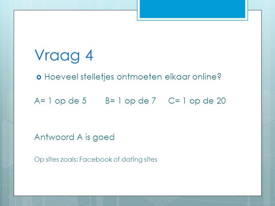 Vraag 4  Hoeveel stelletjes ontmoeten elkaar online.