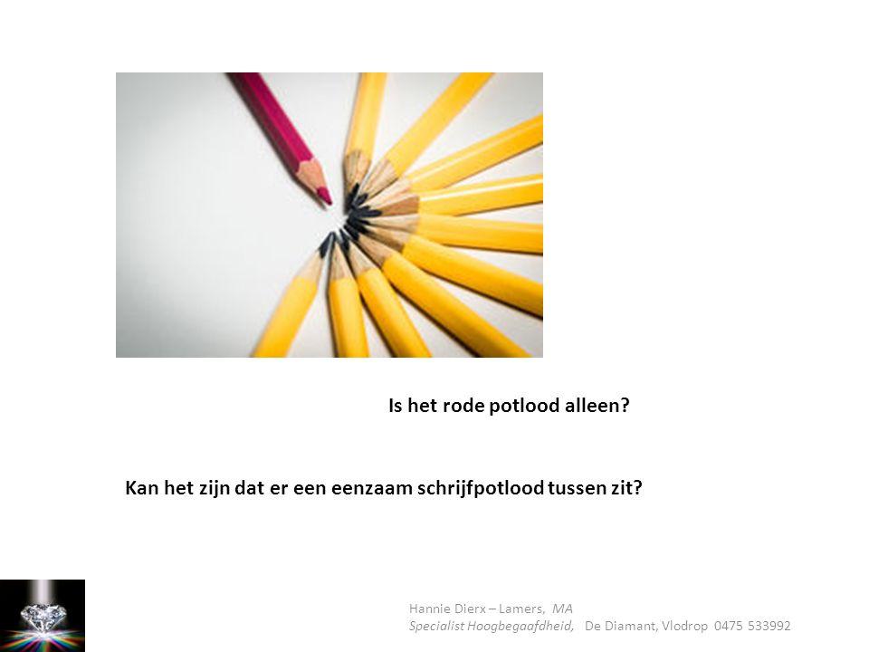 Is het rode potlood alleen? Kan het zijn dat er een eenzaam schrijfpotlood tussen zit?