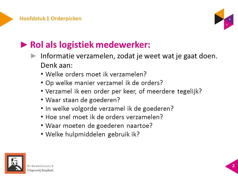 Hoofdstuk 1 Orderpicken ► Rol als logistiek medewerker: ► Informatie verzamelen, zodat je weet wat je gaat doen.