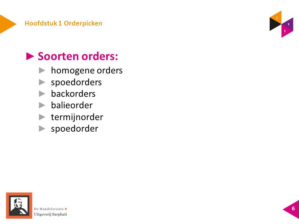 Hoofdstuk 1 Orderpicken ► Soorten orders: ► homogene orders ► spoedorders ► backorders ► balieorder ► termijnorder ► spoedorder 6