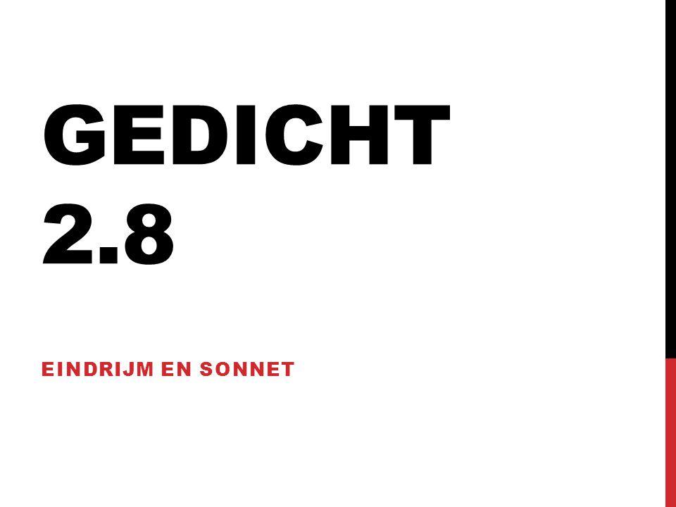 GEDICHT 2.8 EINDRIJM EN SONNET