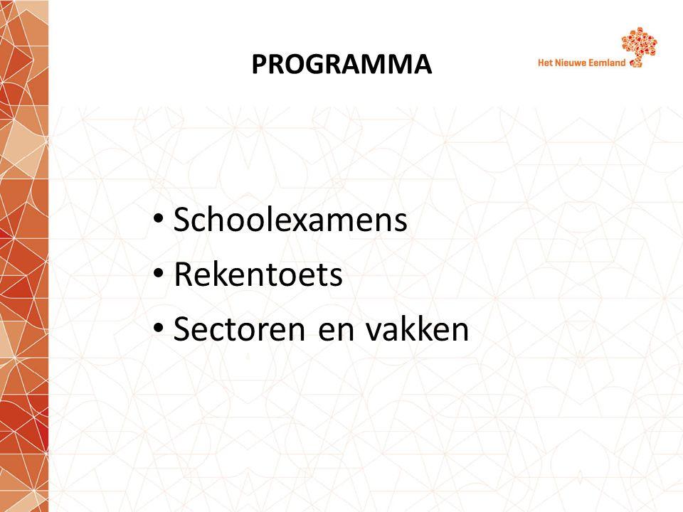 PROGRAMMA Schoolexamens Rekentoets Sectoren en vakken