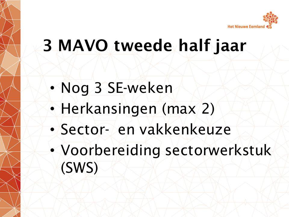 3 MAVO tweede half jaar Nog 3 SE-weken Herkansingen (max 2) Sector- en vakkenkeuze Voorbereiding sectorwerkstuk (SWS)