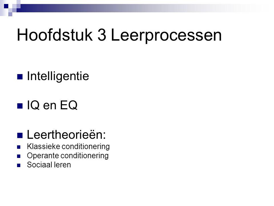 Hoofdstuk 3 Leerprocessen Intelligentie IQ en EQ Leertheorieën: Klassieke conditionering Operante conditionering Sociaal leren