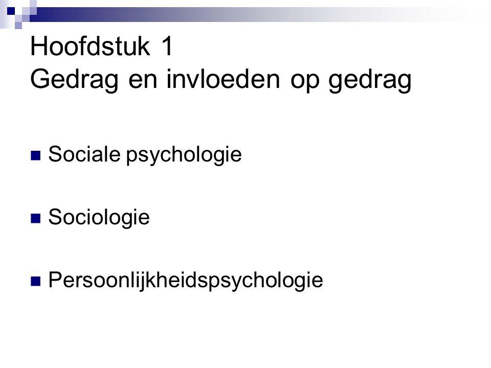 Hoofdstuk 1 Gedrag en invloeden op gedrag Sociale psychologie Sociologie Persoonlijkheidspsychologie