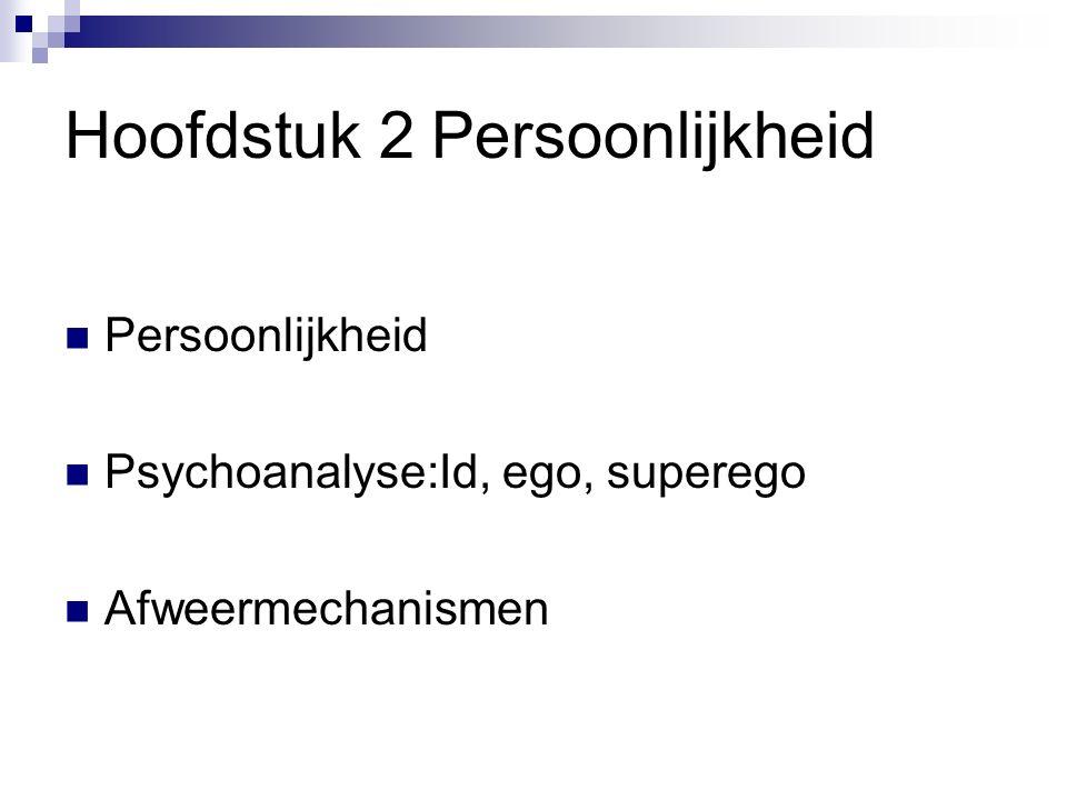 Hoofdstuk 2 Persoonlijkheid Persoonlijkheid Psychoanalyse:Id, ego, superego Afweermechanismen