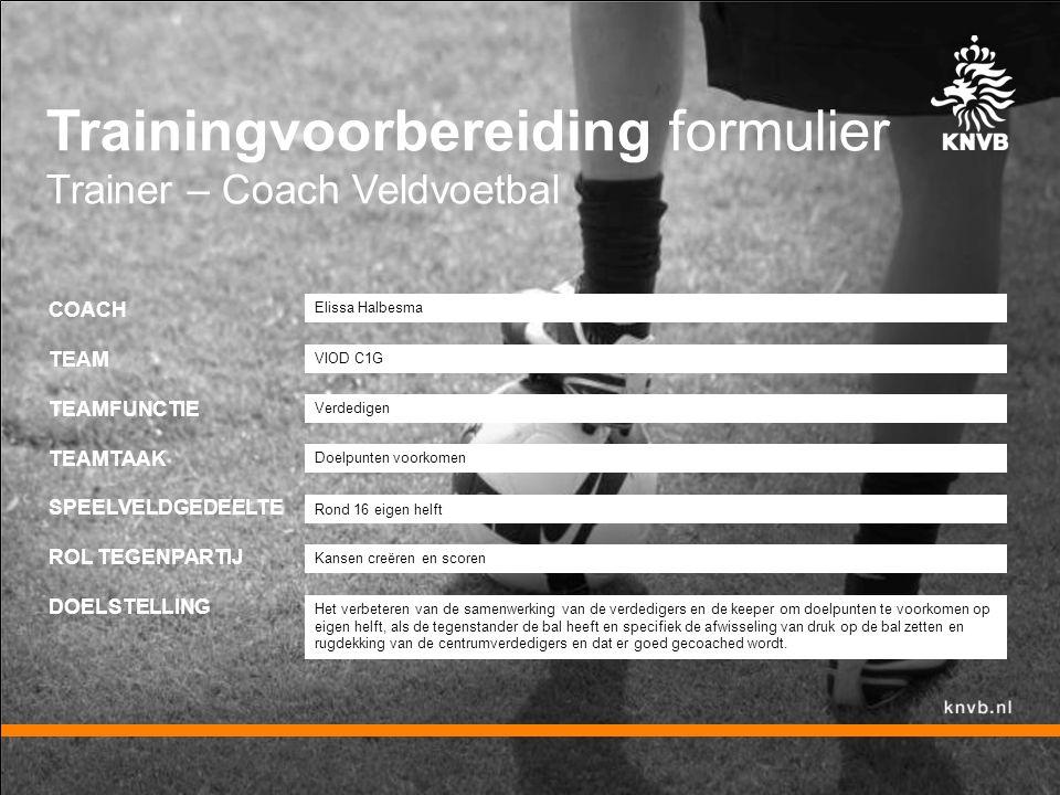 Trainingvoorbereiding formulier Trainer – Coach Veldvoetbal COACH TEAM TEAMFUNCTIE TEAMTAAK SPEELVELDGEDEELTE ROL TEGENPARTIJ DOELSTELLING Verdedigen