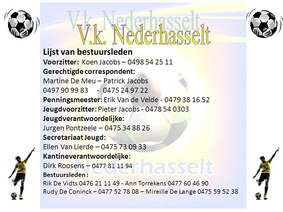 Lijst van bestuursleden Voorzitter: Koen Jacobs – 0498 54 25 11 Gerechtigde correspondent: Martine De Meu – Patrick Jacobs 0497 90 99 83 - 0475 24 97