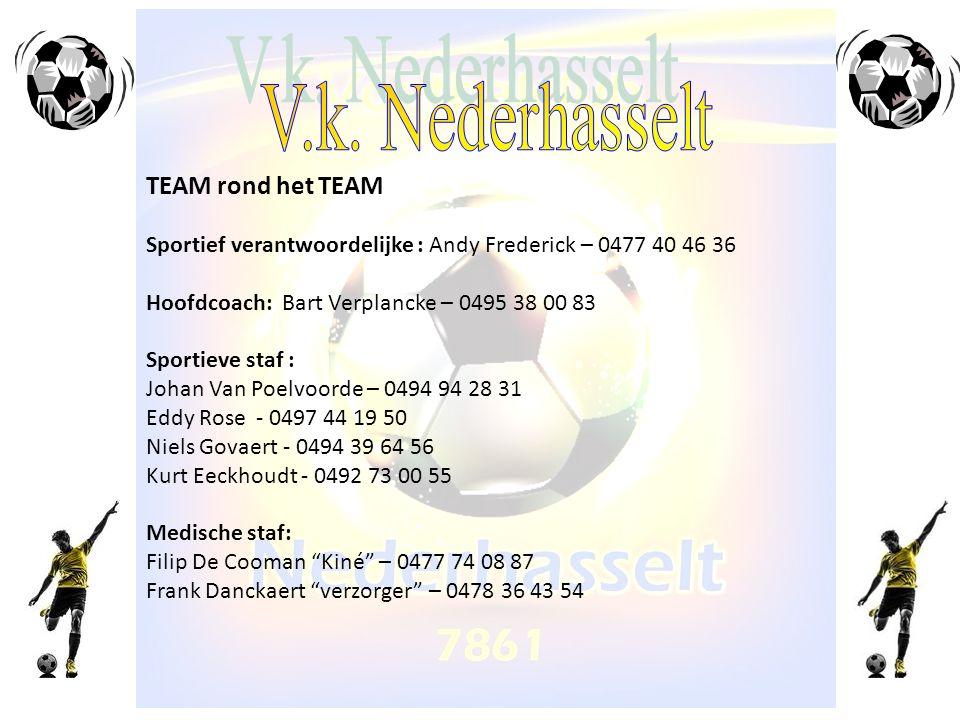 TEAM rond het TEAM Sportief verantwoordelijke : Andy Frederick – 0477 40 46 36 Hoofdcoach: Bart Verplancke – 0495 38 00 83 Sportieve staf : Johan Van