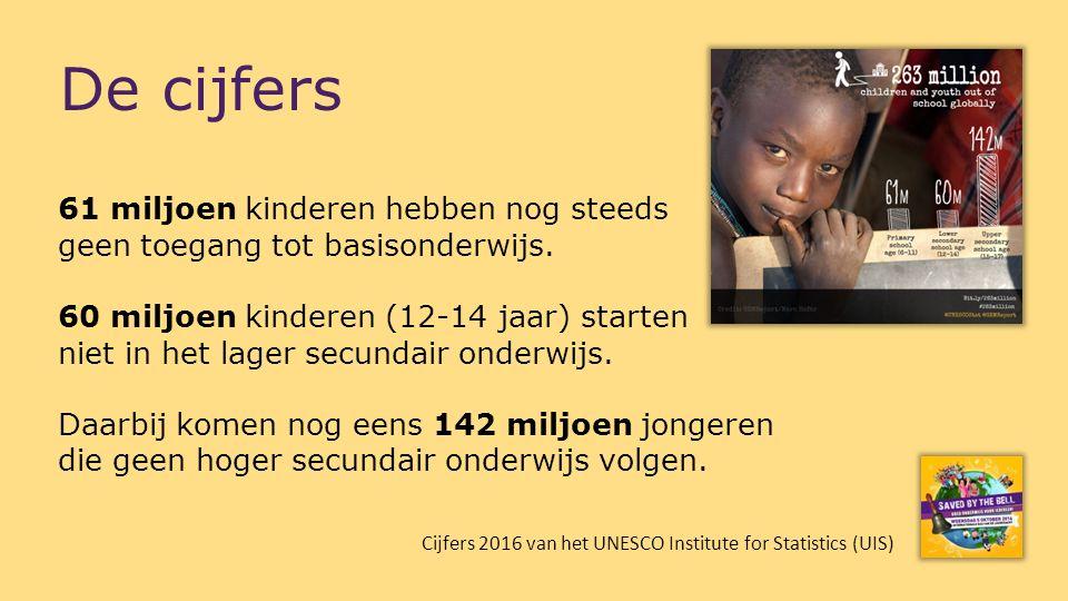 De cijfers 61 miljoen kinderen hebben nog steeds geen toegang tot basisonderwijs. 60 miljoen kinderen (12-14 jaar) starten niet in het lager secundair