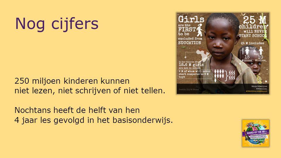 250 miljoen kinderen kunnen niet lezen, niet schrijven of niet tellen. Nochtans heeft de helft van hen 4 jaar les gevolgd in het basisonderwijs. Nog c