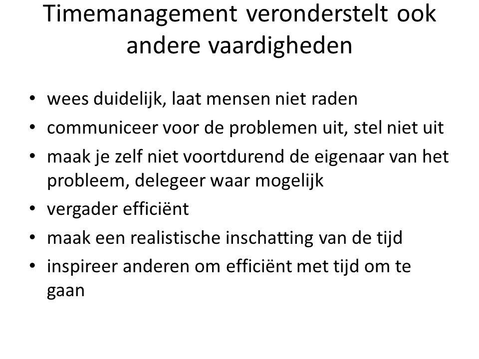Timemanagement veronderstelt ook andere vaardigheden wees duidelijk, laat mensen niet raden communiceer voor de problemen uit, stel niet uit maak je z