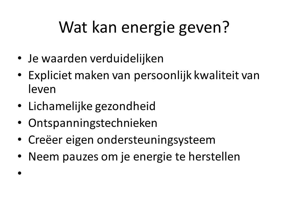 Wat kan energie geven? Je waarden verduidelijken Expliciet maken van persoonlijk kwaliteit van leven Lichamelijke gezondheid Ontspanningstechnieken Cr
