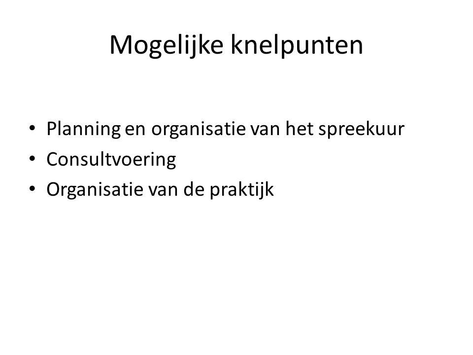 Mogelijke knelpunten Planning en organisatie van het spreekuur Consultvoering Organisatie van de praktijk