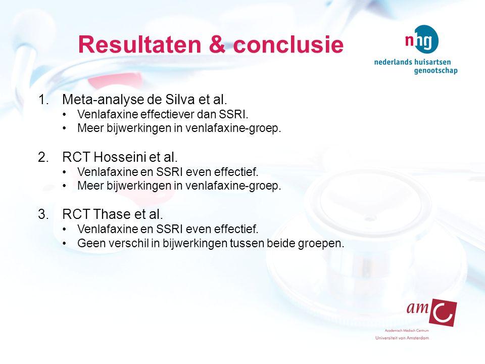 Resultaten & conclusie 1.Meta-analyse de Silva et al.