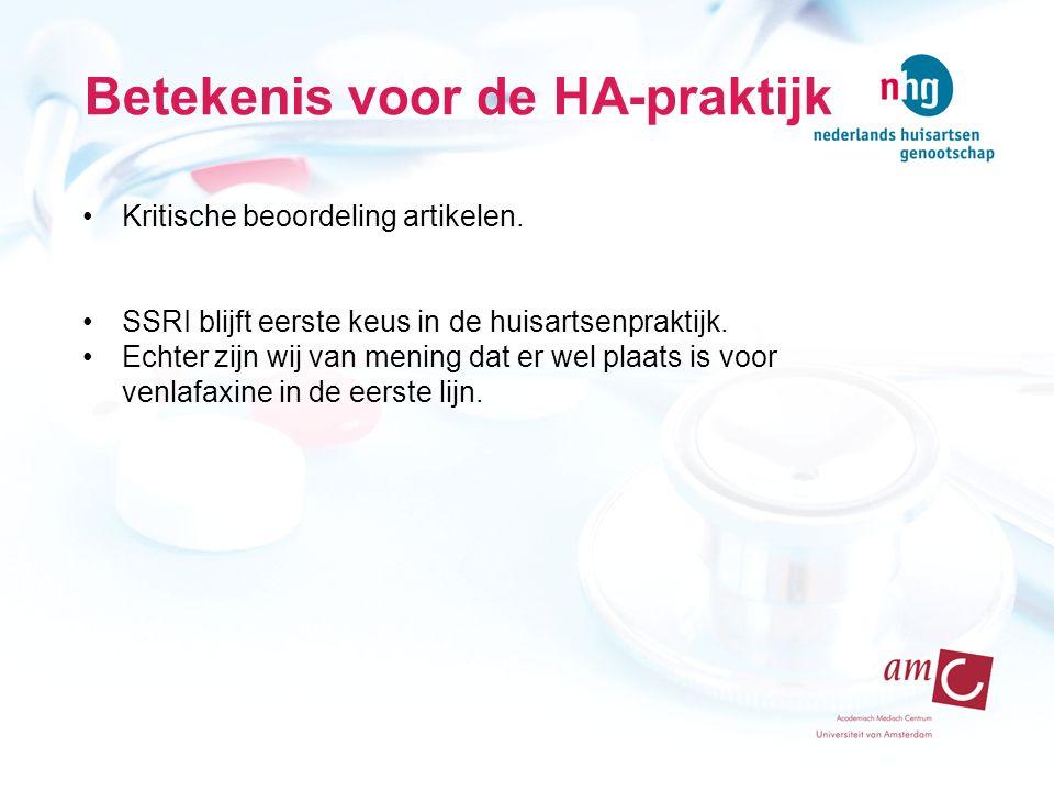 Betekenis voor de HA-praktijk Kritische beoordeling artikelen.