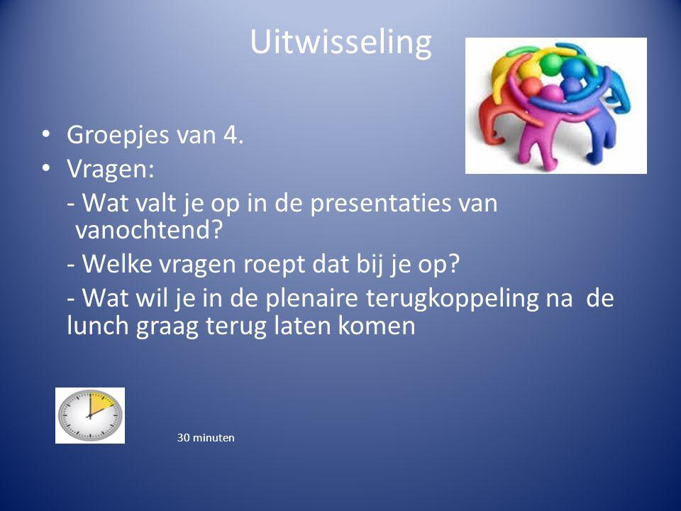 Uitwisseling Groepjes van 4. Vragen: - Wat valt je op in de presentaties van vanochtend.