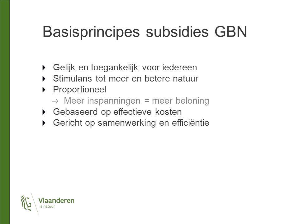 Basisprincipes subsidies GBN Gelijk en toegankelijk voor iedereen Stimulans tot meer en betere natuur Proportioneel Meer inspanningen = meer beloning