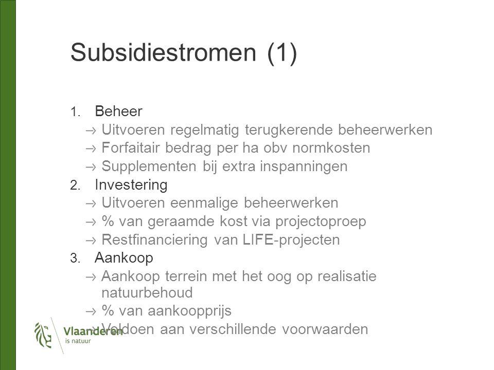 Subsidiestromen (1) 1. Beheer Uitvoeren regelmatig terugkerende beheerwerken Forfaitair bedrag per ha obv normkosten Supplementen bij extra inspanning