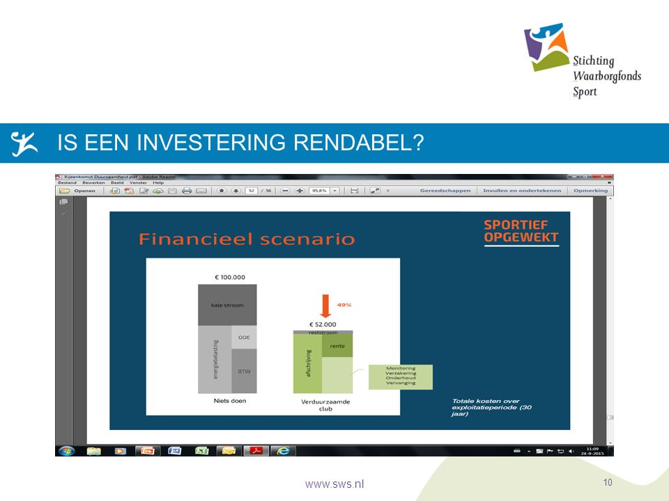 IS EEN INVESTERING RENDABEL? www.sws.nl 10