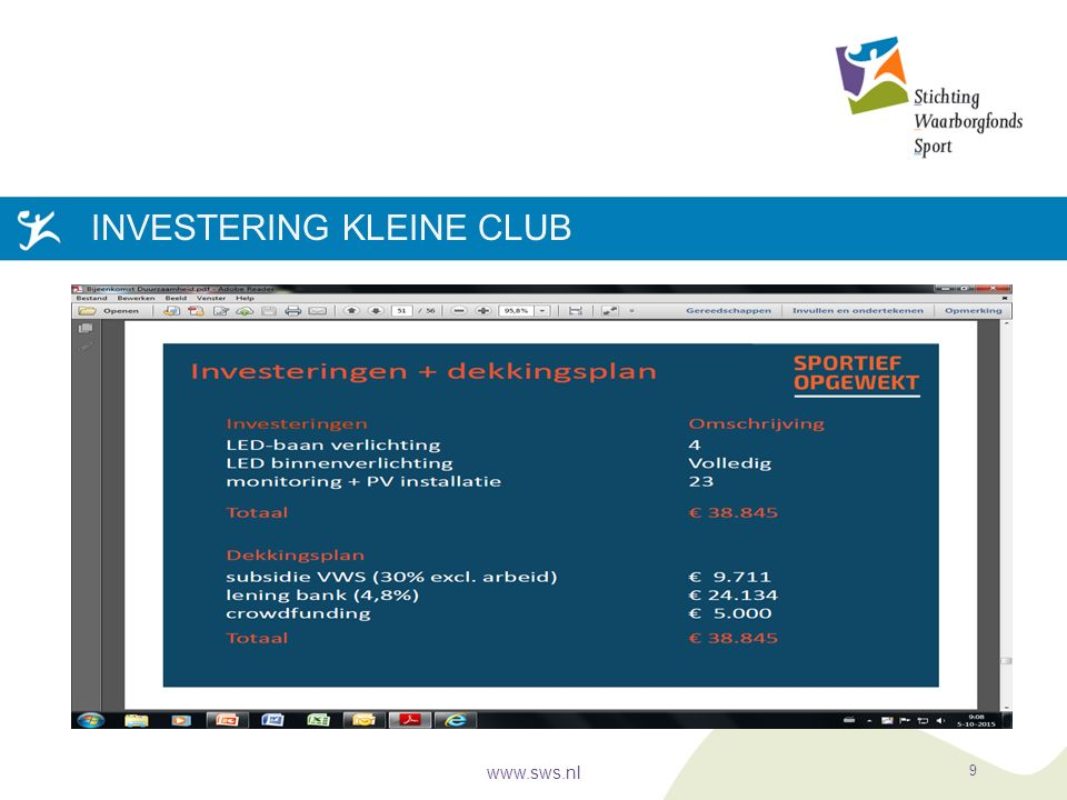 INVESTERING KLEINE CLUB www.sws.nl 9