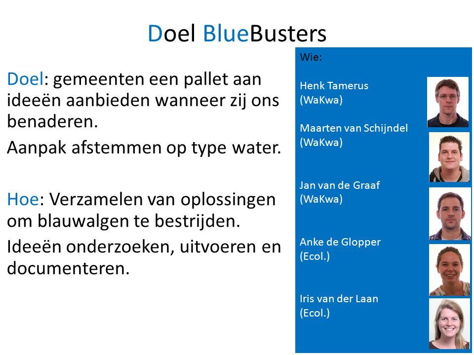 Doel BlueBusters Doel: gemeenten een pallet aan ideeën aanbieden wanneer zij ons benaderen.