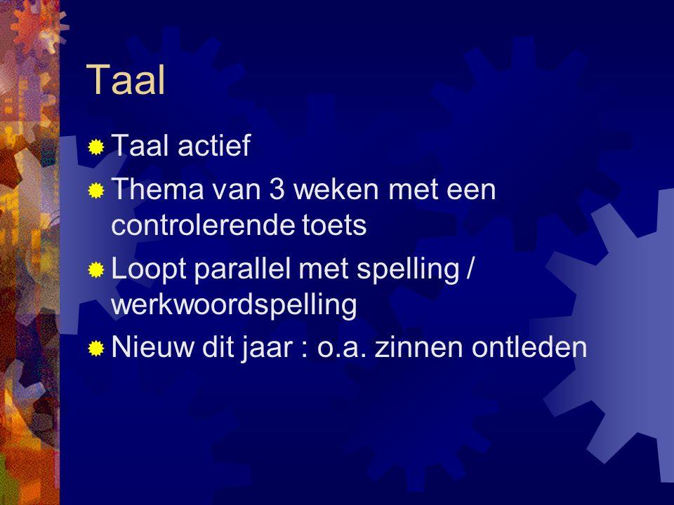 Taal  Taal actief  Thema van 3 weken met een controlerende toets  Loopt parallel met spelling / werkwoordspelling  Nieuw dit jaar : o.a.