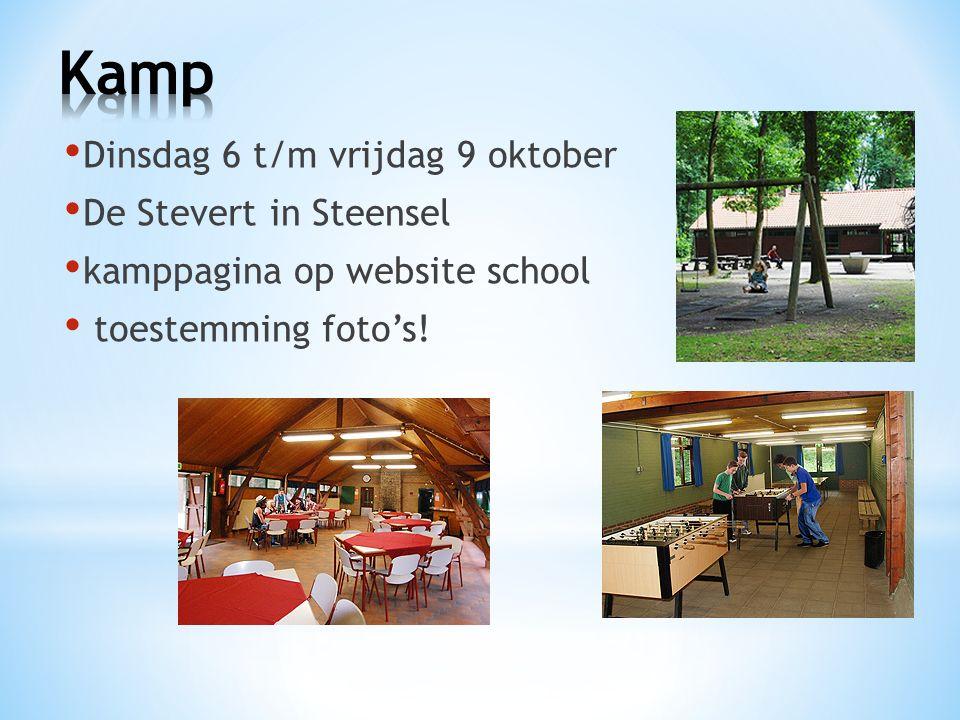 Dinsdag 6 t/m vrijdag 9 oktober De Stevert in Steensel kamppagina op website school toestemming foto's!