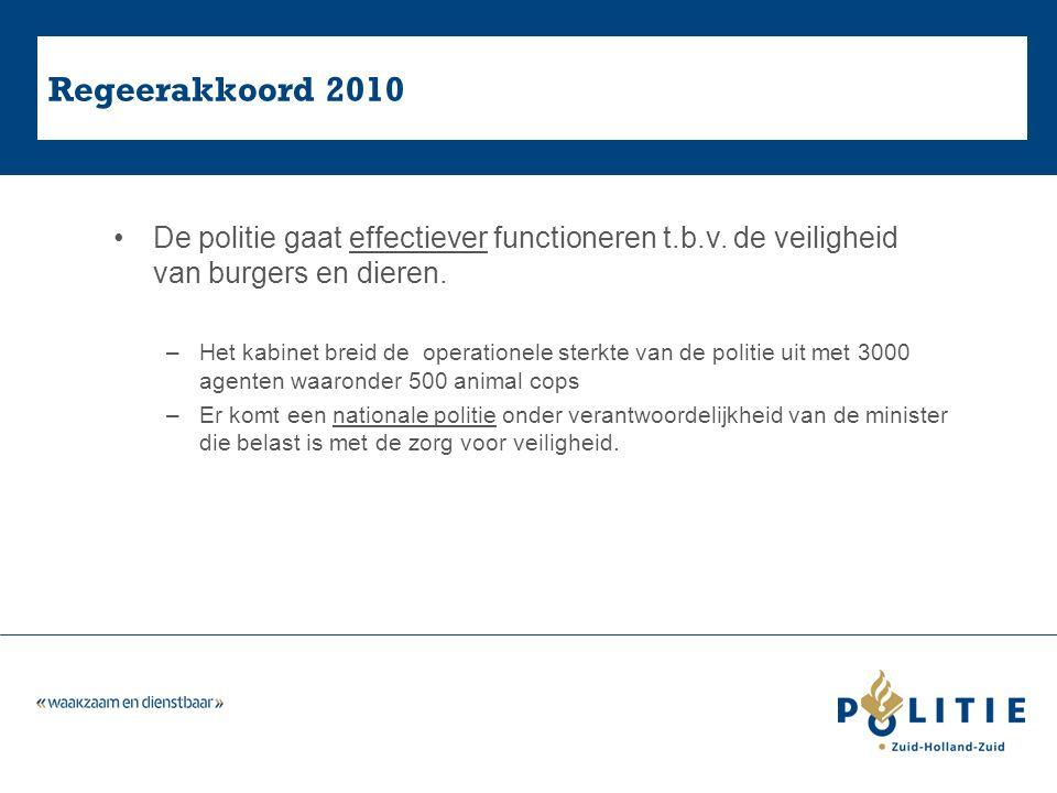 Regeerakkoord 2010 De politie gaat effectiever functioneren t.b.v.