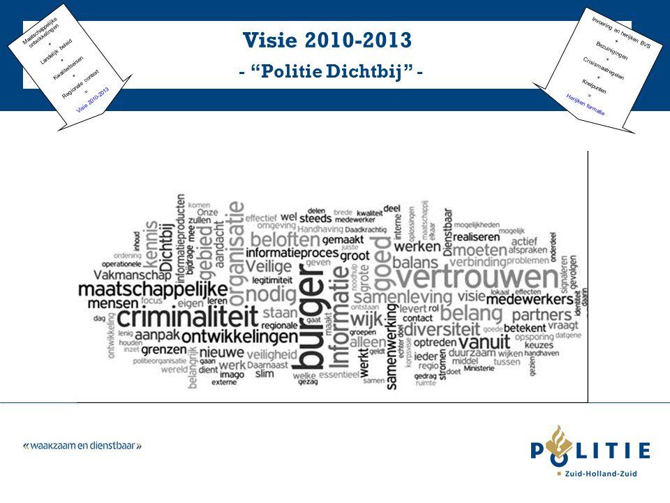 Visie 2010-2013 - Politie Dichtbij - Maatschappelijke ontwikkelingen + Landelijk beleid + Kwaliteitseisen + Regionale context = Visie 2010-2013 Invoering en herijken BVS + Bezuinigingen + Crisismaatregelen + Knelpunten = Herijken formatie