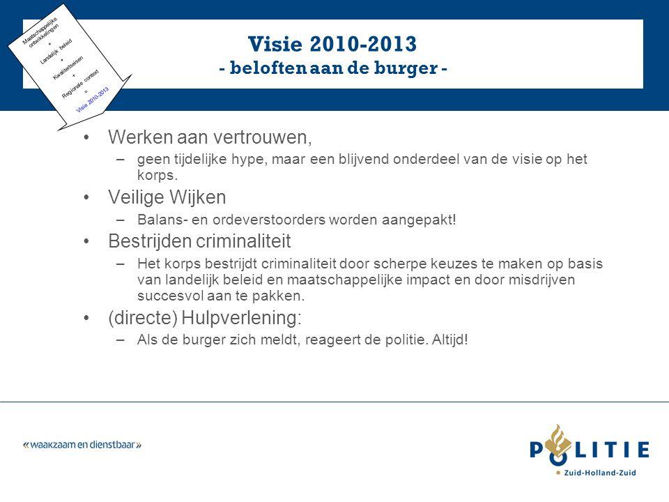 Visie 2010-2013 - beloften aan de burger - Werken aan vertrouwen, –geen tijdelijke hype, maar een blijvend onderdeel van de visie op het korps.