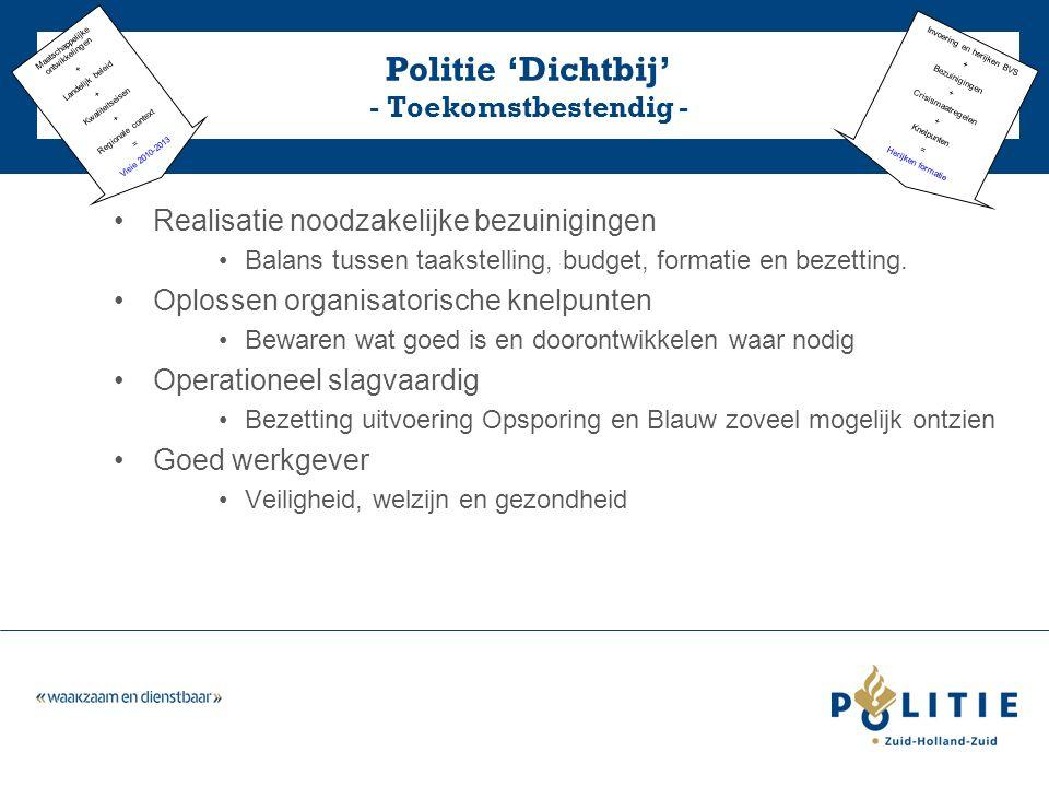 Realisatie noodzakelijke bezuinigingen Balans tussen taakstelling, budget, formatie en bezetting.