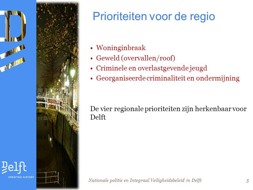 Nationale politie en Integraal Veiligheidsbeleid in Delft5 Prioriteiten voor de regio Woninginbraak Geweld (overvallen/roof) Criminele en overlastgevende jeugd Georganiseerde criminaliteit en ondermijning De vier regionale prioriteiten zijn herkenbaar voor Delft