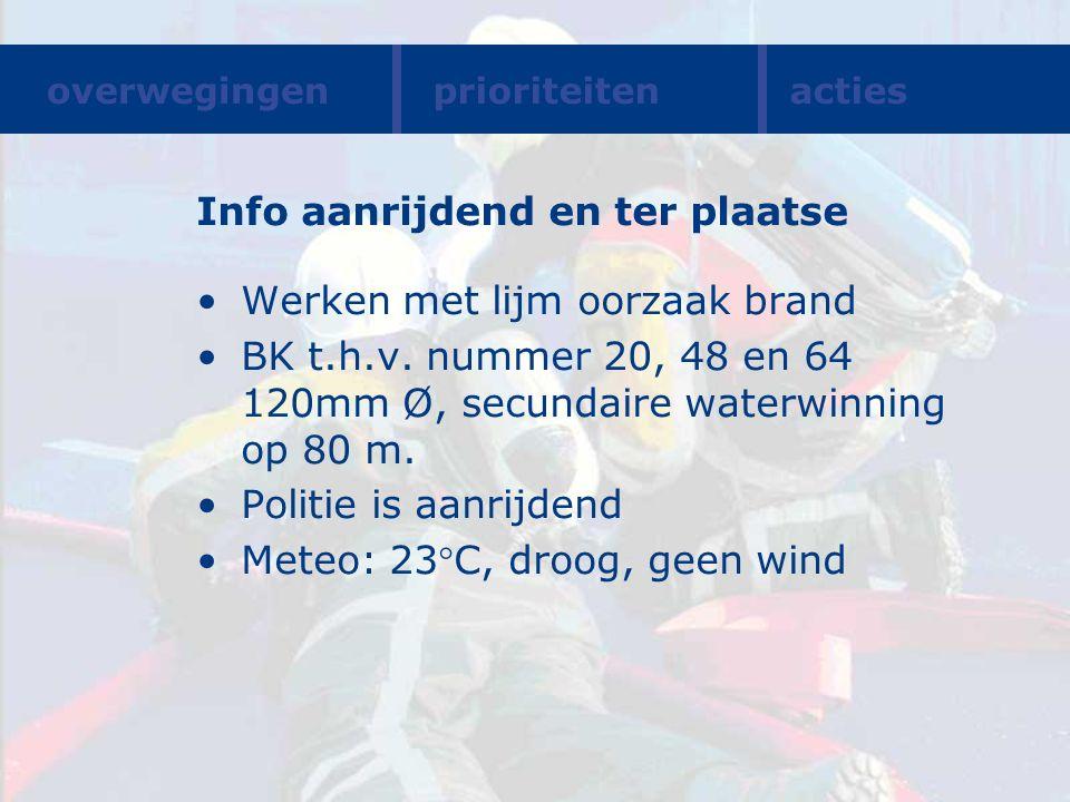 Info aanrijdend en ter plaatse Werken met lijm oorzaak brand BK t.h.v. nummer 20, 48 en 64 120mm Ø, secundaire waterwinning op 80 m. Politie is aanrij