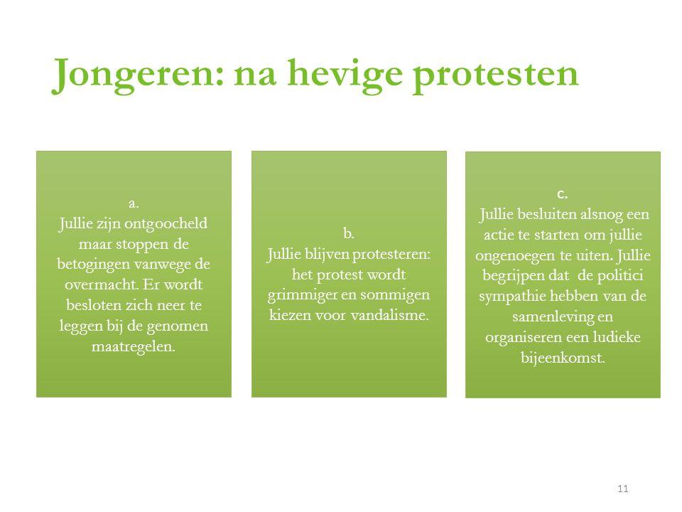 Jongeren: na hevige protesten a.
