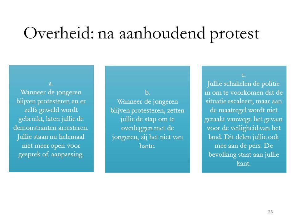 Overheid: na aanhoudend protest a.