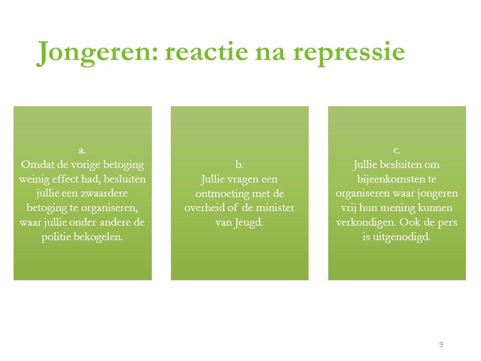Jongeren: reactie na repressie a.