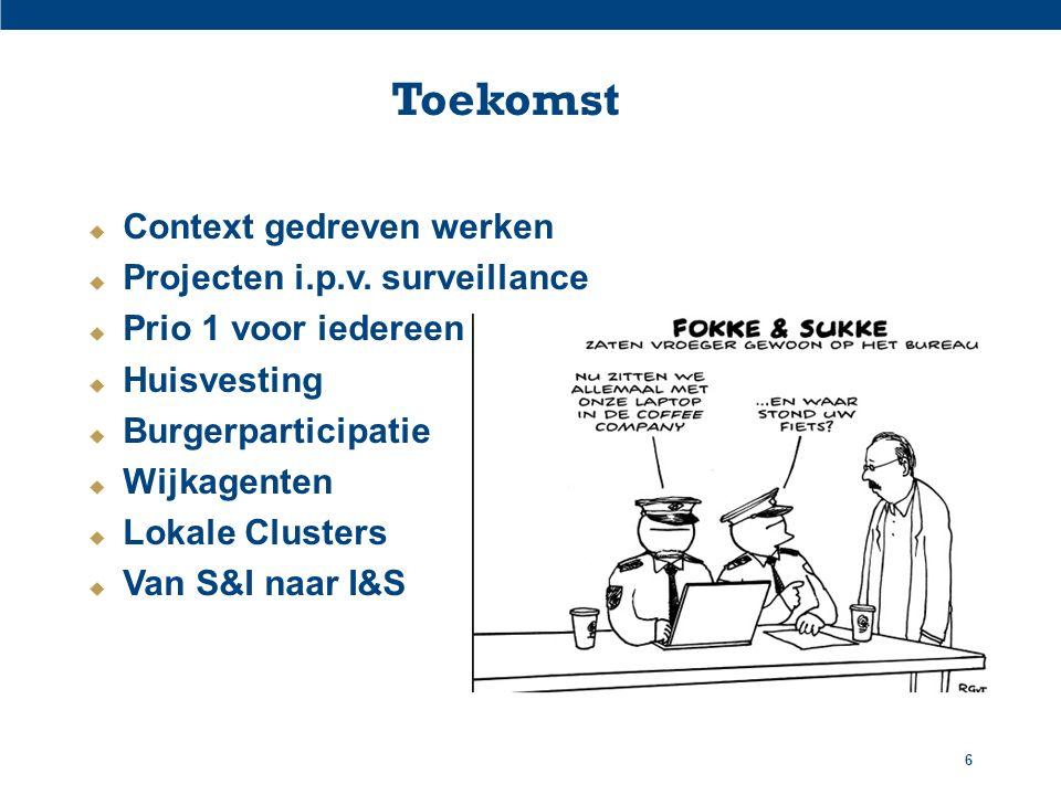 Toekomst  Context gedreven werken  Projecten i.p.v. surveillance  Prio 1 voor iedereen  Huisvesting  Burgerparticipatie  Wijkagenten  Lokale Cl