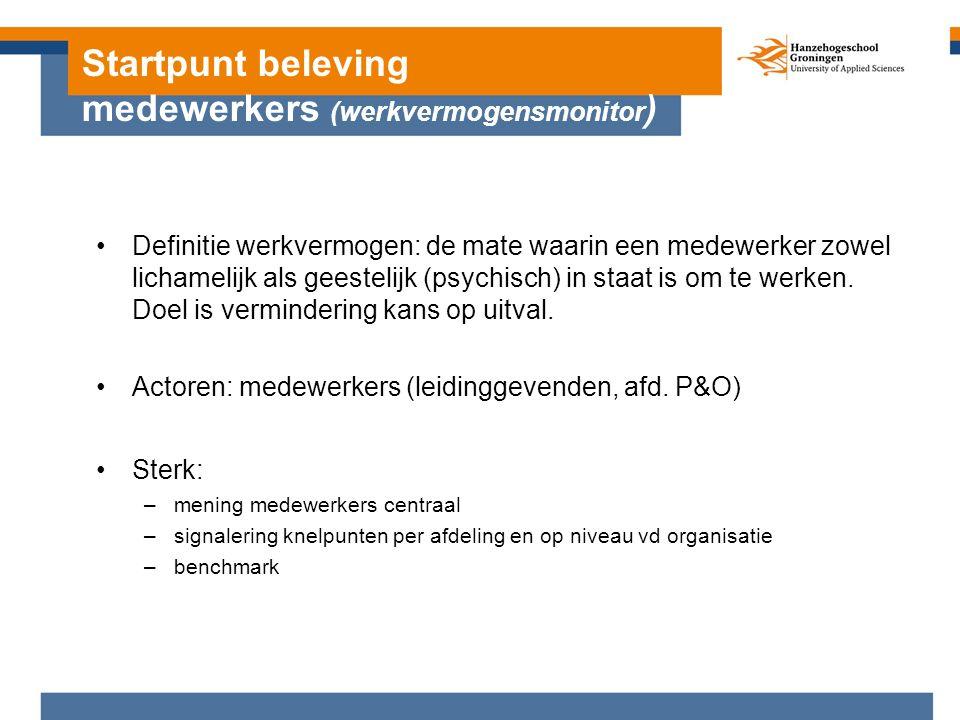Startpunt beleving medewerkers (werkvermogensmonitor ) (werkvermogensmonitor ) Definitie werkvermogen: de mate waarin een medewerker zowel lichamelijk als geestelijk (psychisch) in staat is om te werken.