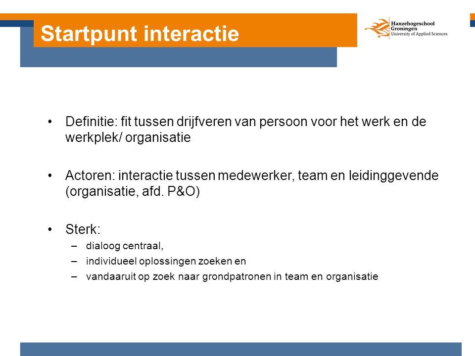 Startpunt interactie Definitie: fit tussen drijfveren van persoon voor het werk en de werkplek/ organisatie Actoren: interactie tussen medewerker, team en leidinggevende (organisatie, afd.