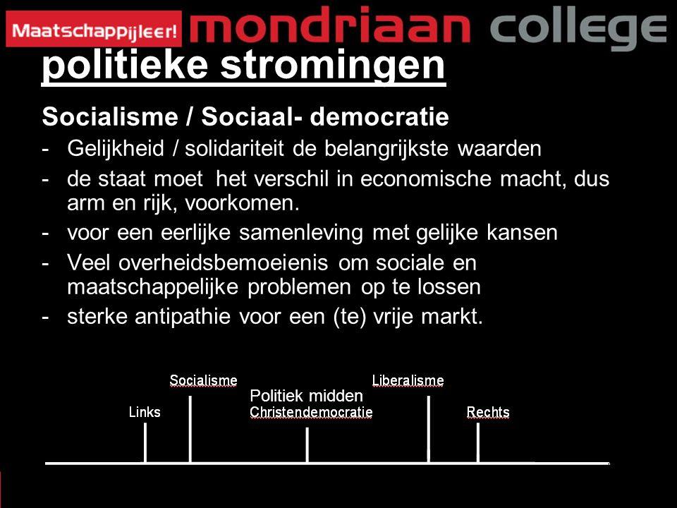 Socialisme / Sociaal- democratie -Gelijkheid / solidariteit de belangrijkste waarden -de staat moet het verschil in economische macht, dus arm en rijk, voorkomen.