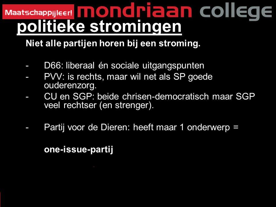Niet alle partijen horen bij een stroming. -D66: liberaal én sociale uitgangspunten -PVV: is rechts, maar wil net als SP goede ouderenzorg. -CU en SGP