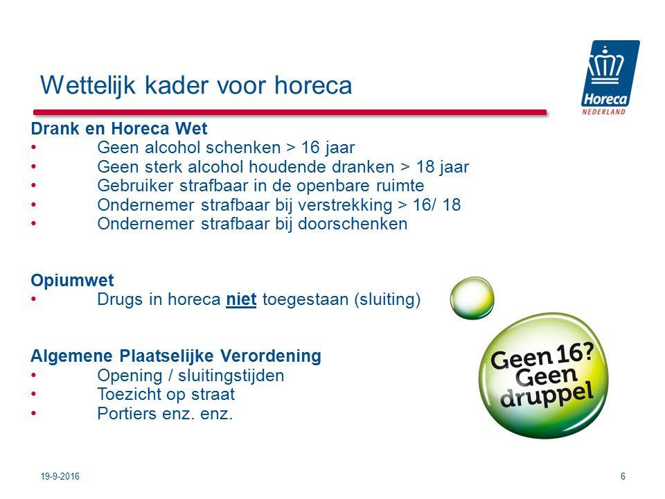 Wettelijk kader voor horeca Drank en Horeca Wet Geen alcohol schenken > 16 jaar Geen sterk alcohol houdende dranken > 18 jaar Gebruiker strafbaar in d