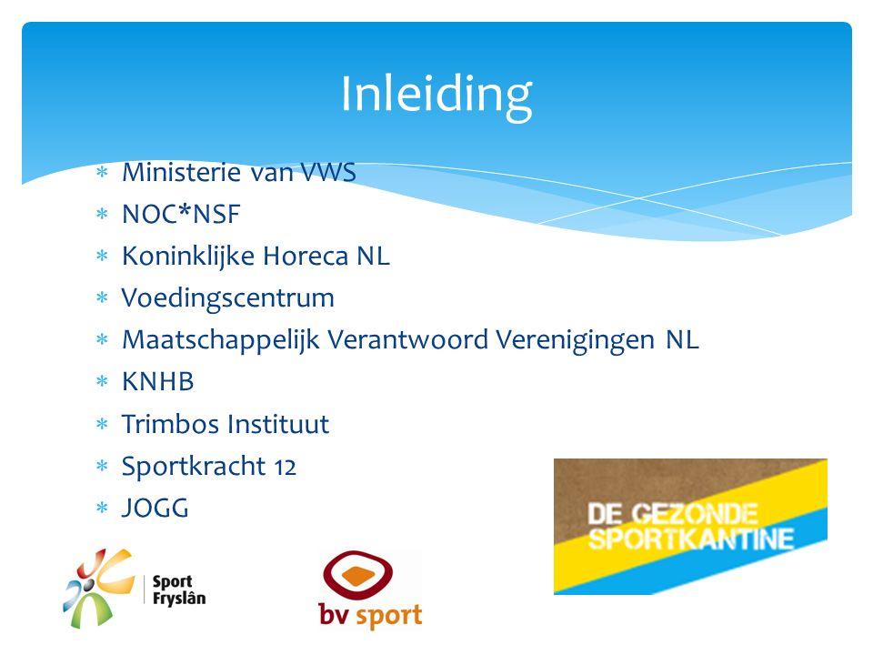  Ministerie van VWS  NOC*NSF  Koninklijke Horeca NL  Voedingscentrum  Maatschappelijk Verantwoord Verenigingen NL  KNHB  Trimbos Instituut  Sportkracht 12  JOGG Inleiding