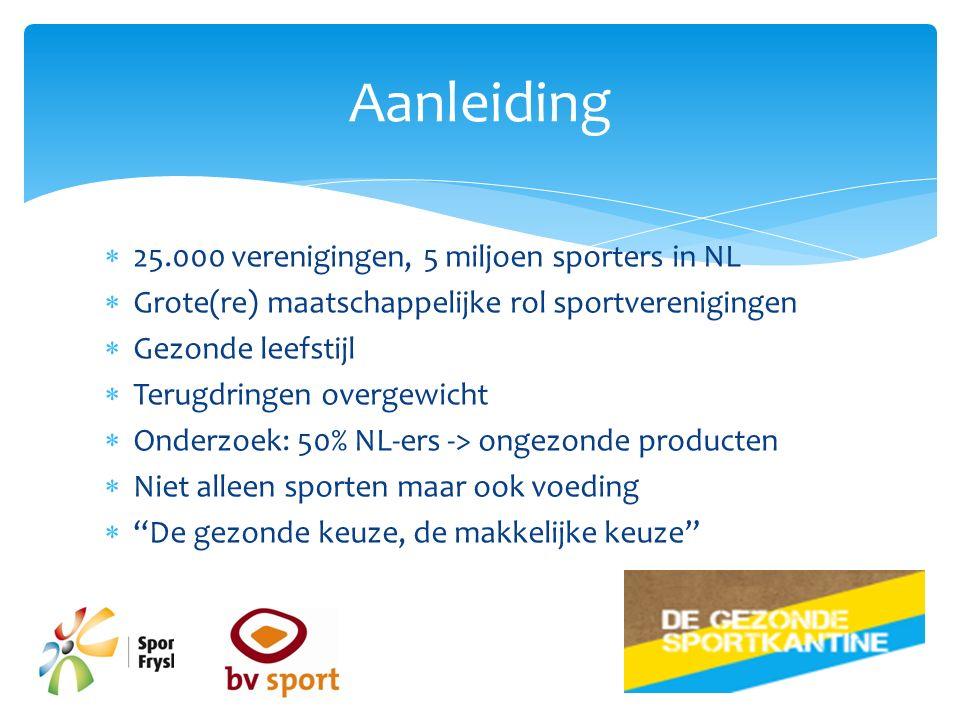  25.000 verenigingen, 5 miljoen sporters in NL  Grote(re) maatschappelijke rol sportverenigingen  Gezonde leefstijl  Terugdringen overgewicht  Onderzoek: 50% NL-ers -> ongezonde producten  Niet alleen sporten maar ook voeding  De gezonde keuze, de makkelijke keuze Aanleiding