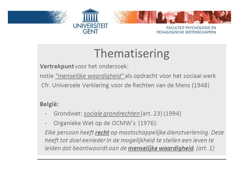 """Thematisering Vertrekpunt voor het onderzoek: notie """"menselijke waardigheid"""" als opdracht voor het sociaal werk Cfr. Universele Verklaring voor de Rec"""