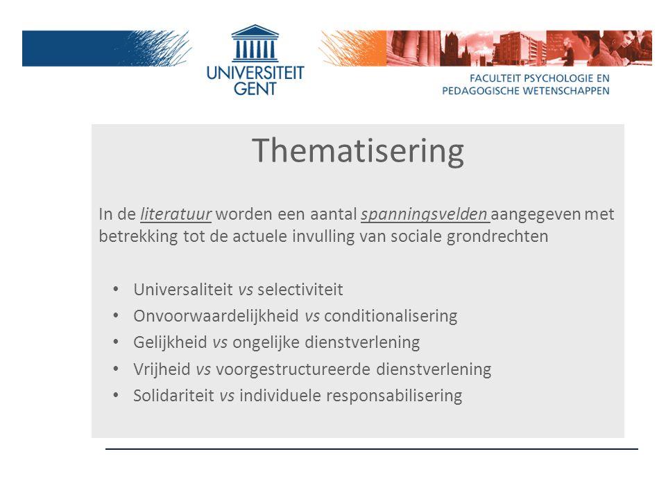Thematisering In de literatuur worden een aantal spanningsvelden aangegeven met betrekking tot de actuele invulling van sociale grondrechten Universal