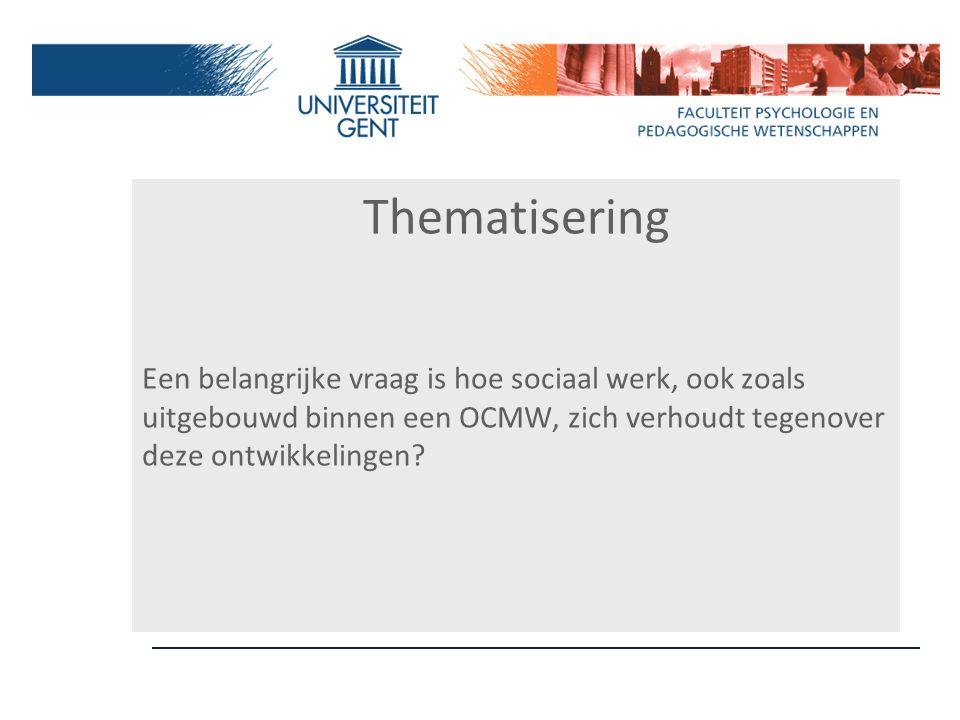 Thematisering Een belangrijke vraag is hoe sociaal werk, ook zoals uitgebouwd binnen een OCMW, zich verhoudt tegenover deze ontwikkelingen?