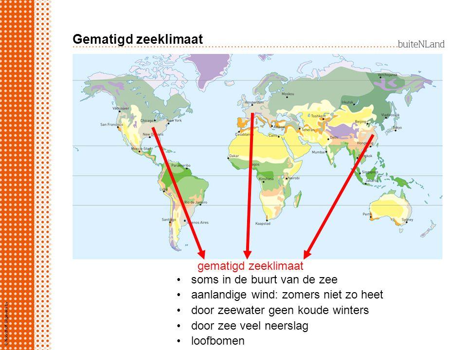 Gematigd zeeklimaat gematigd zeeklimaat soms in de buurt van de zee aanlandige wind: zomers niet zo heet door zeewater geen koude winters door zee veel neerslag loofbomen